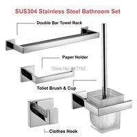 Mirror Polished SUS304 Stainless Steel Bathroom Accessories Set Towel Bar Toilet Paper Holder Robe Hook Toilet Brush Holder