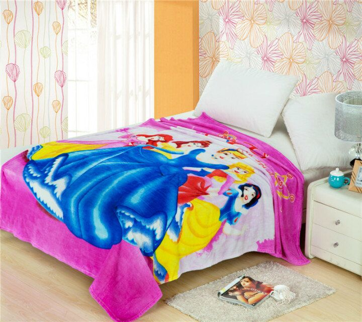 Princess Printed Blankets Throws Bedding 150*200CM Size Baby Girls Childrens Kids Bed Home Bedroom Decoration Flannel Magenta