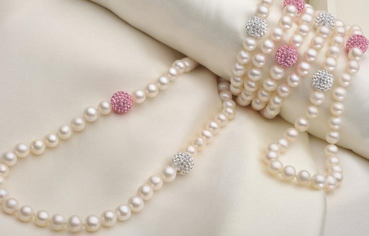 Terisa pearlbijoux couleur blanche collier de perles d'eau douce naturelles AA 6-7mm ronde 10 MM strass Long perle bijoux