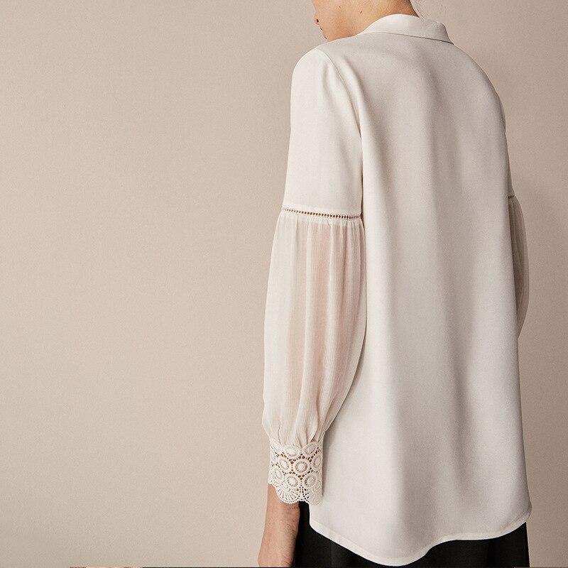 Shirts Femmes Blanc 2018 Col En Bureau Tops Femme V Blouse Sping Street Mousseline Manches D'été High Lanterne Soie De AEfzgq