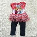 Muchachas que arropan, anna y elsa dress y polainas set, bebé ropa de la muchacha fijaron, dress y pantalones conjuntos