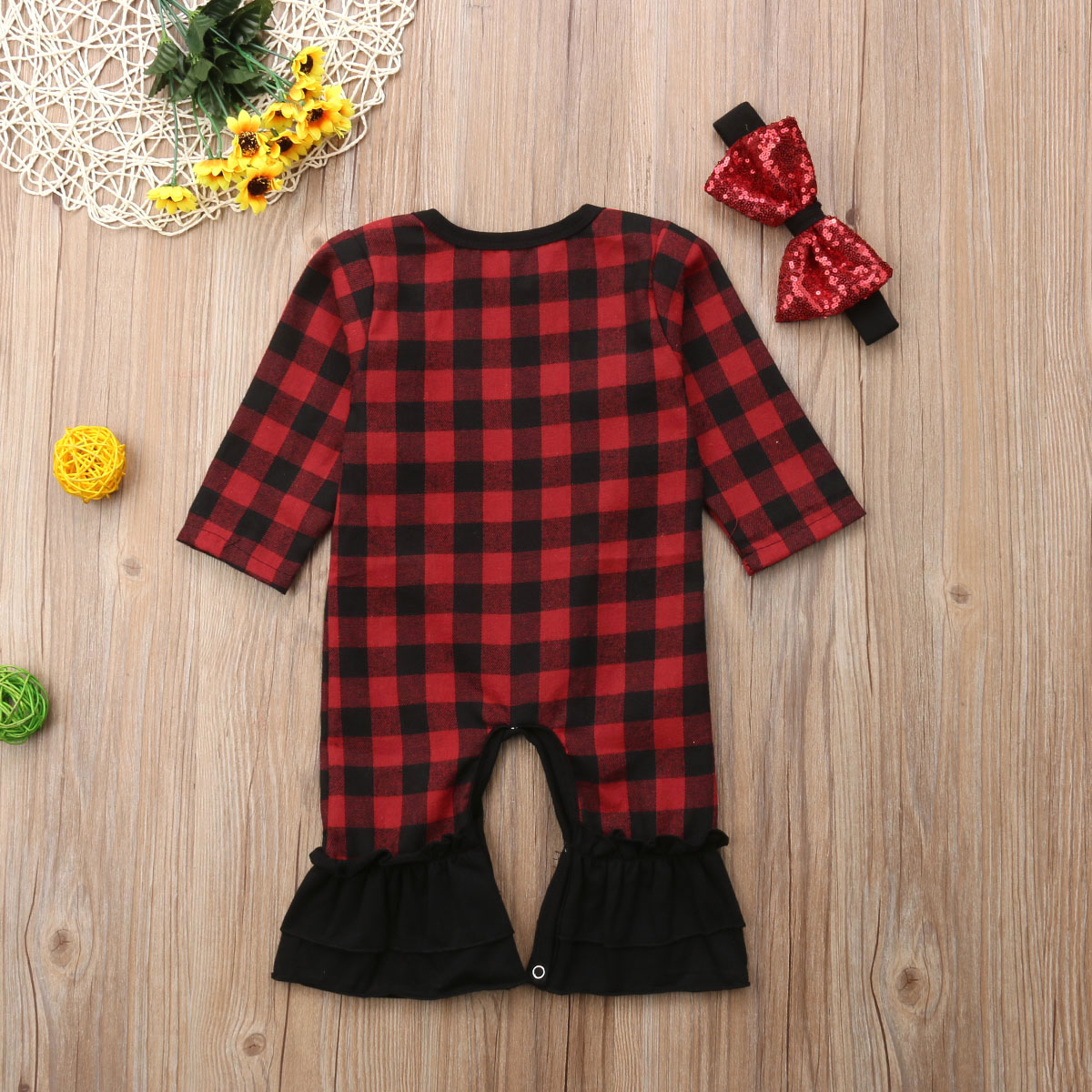 e81d9632e Christmas Newborn Baby Girls Red Cute Romper Cotton Black Red Checks  Jumpsuit Outfit Fall Clothes
