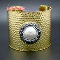 1Pc New Fashion Women Wide Bangles Freshwater Pearls & Rhinestone Paved Cuff Bracelets Hallowmas Jewelry Christmas Gift