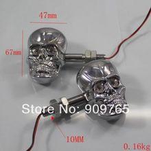 1 Pair Chrome LED Skull Turn Signals Light for Suzuki Marauder S40 M50 C90 Gsxr Honda
