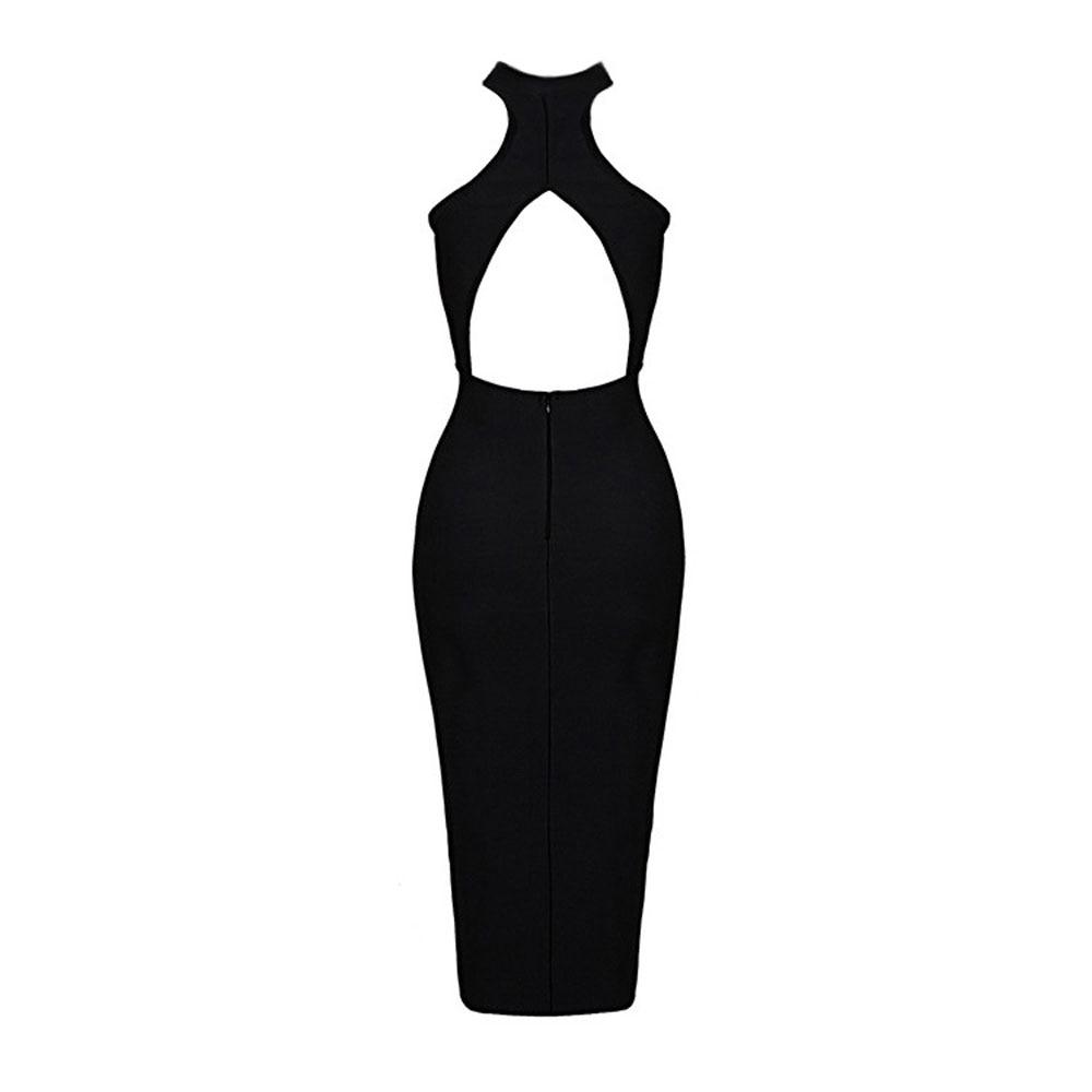 Kadın Giyim'ten Elbiseler'de Siyah kolsuz backless diz boyu 2018 yeni varış gece gece elbisesi bandaj rayon elbise'da  Grup 3
