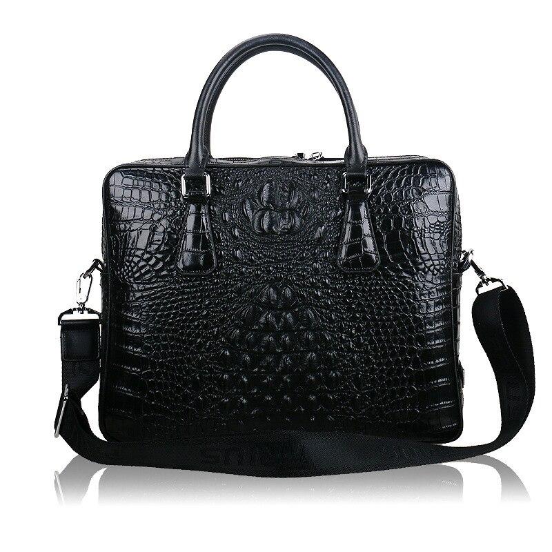 Fashion Men's Business Briefcase Bag Men 's Classic Genuine Leather Woven Bag Crocodile Pattern Shoulder Messenger Business Bag anderson s classic woven textile navy