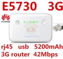 Desbloqueado Huawei E5730 móvil 3g Pocket 3g módem WiFi router wifi 3g mifi dongle 3g con Banco de la energía usb rj45(China)