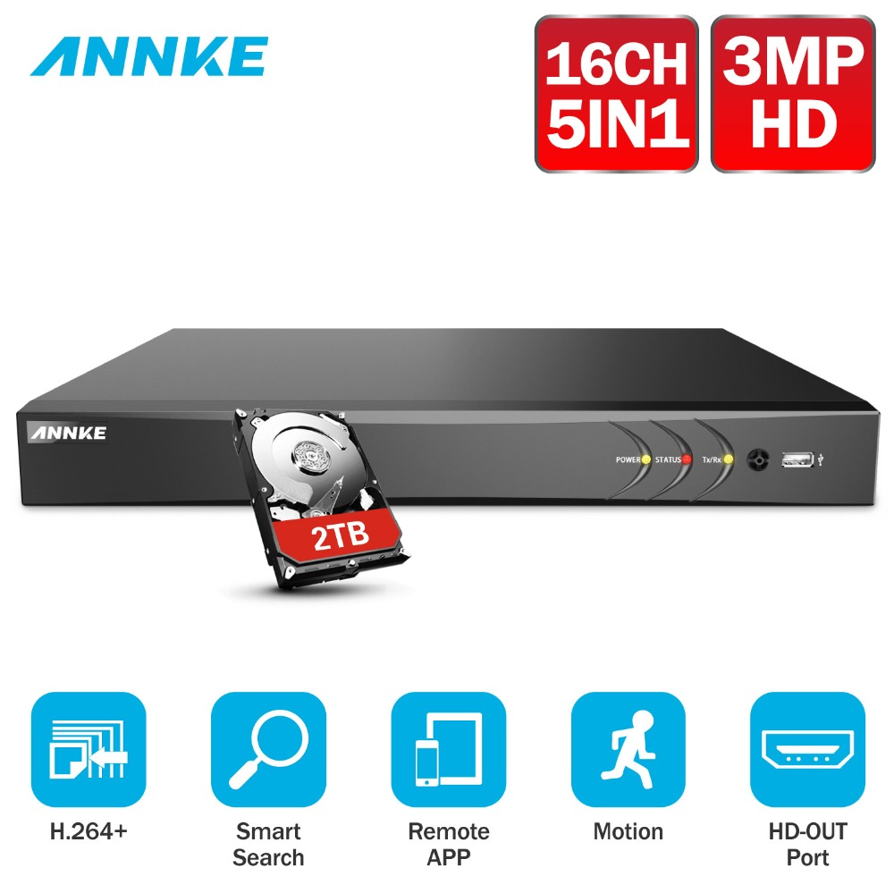 ANNKE 16CH 3MP 5in1 HD TVI CVI AHD TELECAMERA di Sicurezza IP DVR Recorder H.264 Digital Video Recorder Motion Detection = HIK DS-7216HQHI-F1/N