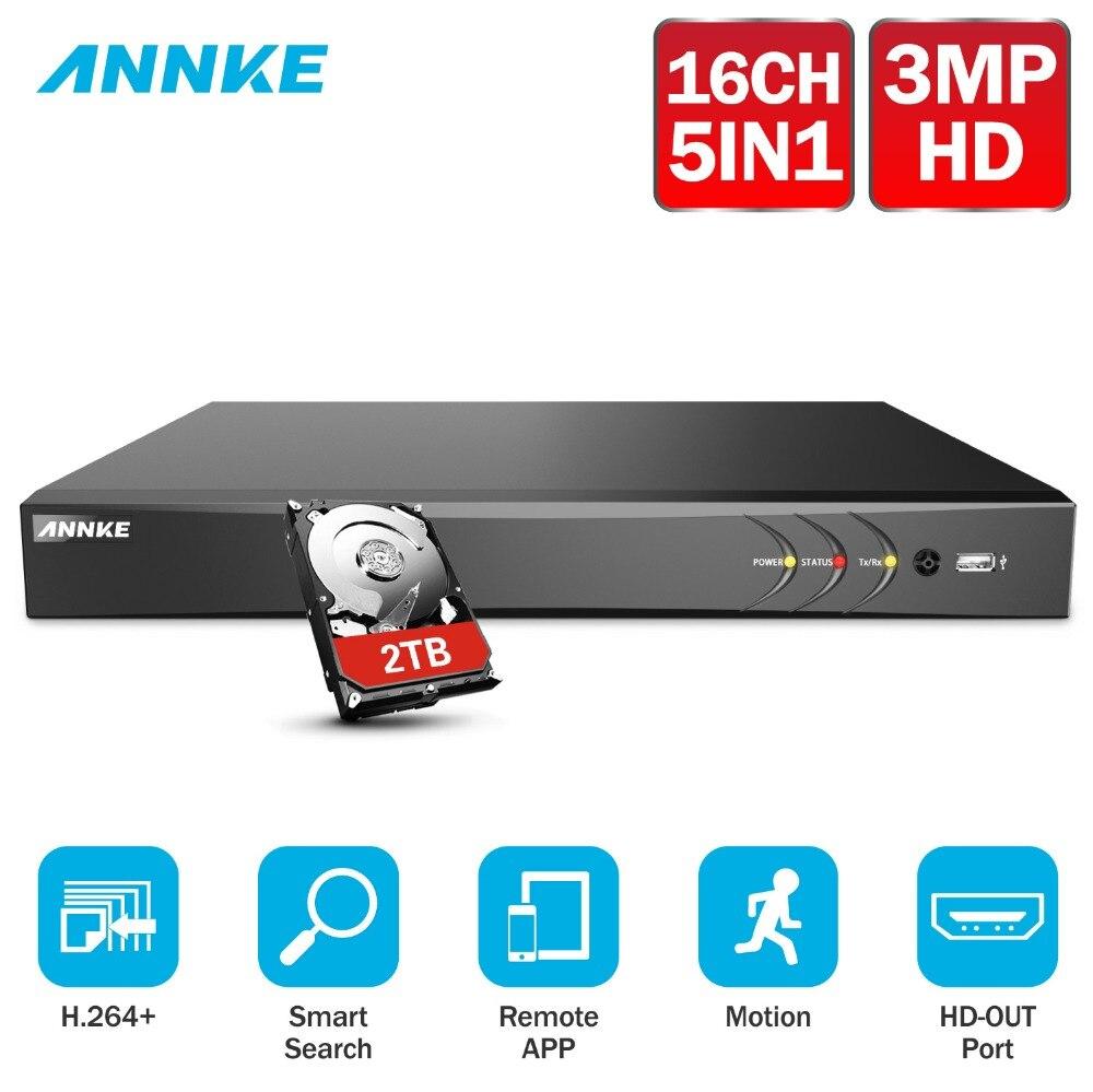 ANNKE 16CH 3MP 5in1 HD TVI CVI AHD IP рекордеры для систем видеонаблюдения H.264 + Цифровое видео Регистраторы Обнаружение движения = HIK DS-7216HQHI-F1/N