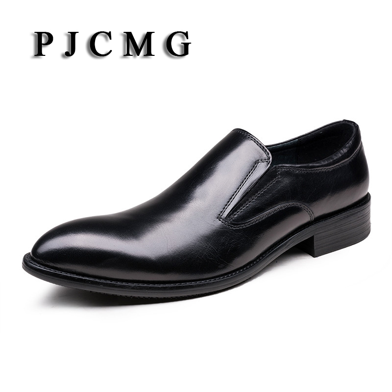 PJCMG Fashion New Black/Brown Flats Formal Mens Dress Lace-Up Pointed Toe Genuine Leather Business Man Wedding ShoesPJCMG Fashion New Black/Brown Flats Formal Mens Dress Lace-Up Pointed Toe Genuine Leather Business Man Wedding Shoes
