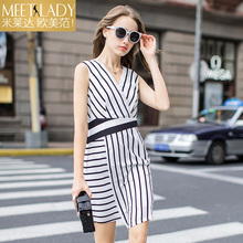 2017 summer dress women's clothing black and white color block stripe V-neck sleeveless one-piece dress tank dress female