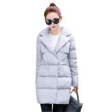 women's cotton-padded coat 2016 winter jacket women medium long down cotton turn down collar jacket female loose parkas kp0931