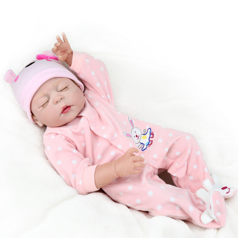 silicon reborn babies full body 55 cm real eyes closed girls toddler dolls 22 inch baby doll soft vinyl lifelike toys waterproof 22 inch bebe silicon reborn babies full body mini reborn baby girl that look real doll reborn 55 cm reborn babies vinyl dolls