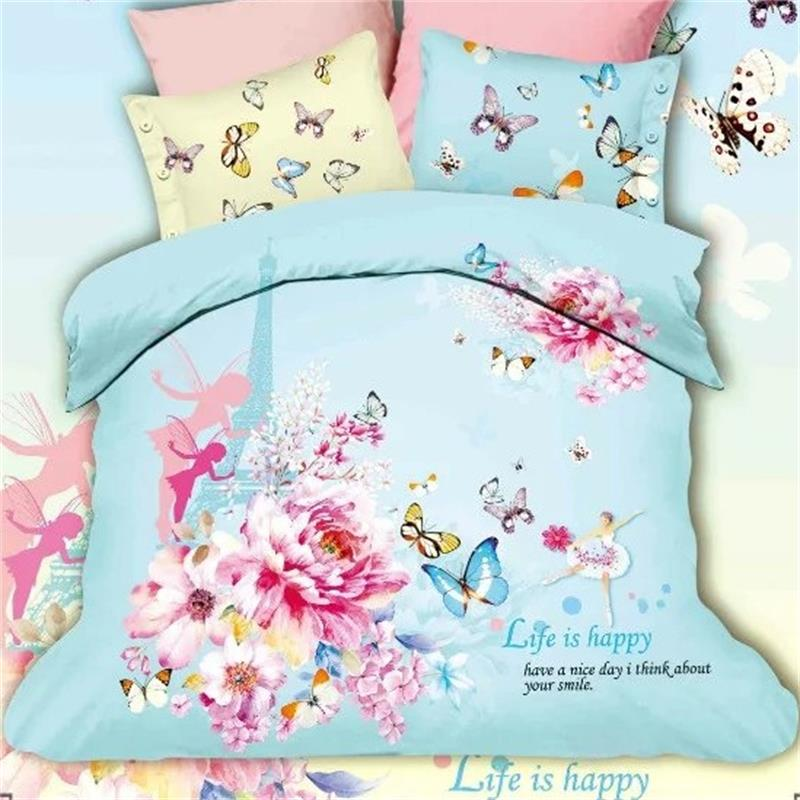 Blue and Pink Flower Fairy Butterfly Eiffel Tower Bedding Set Queen Size Cotton Duvet Cover Bed Sheets Pillowcase Bed in a bagBlue and Pink Flower Fairy Butterfly Eiffel Tower Bedding Set Queen Size Cotton Duvet Cover Bed Sheets Pillowcase Bed in a bag