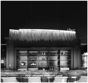 Image 2 - Postmodern designer Pendant Lights Nordic tassel restaurant luxury hotel engineering chain living room art hanging lights