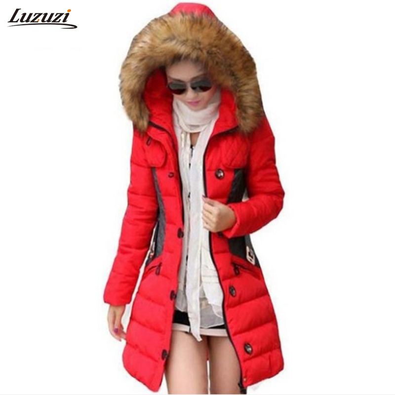 ФОТО 1PC Winter Jacket Women Parka Fur Collar Thickening Cotton Padded Winter Coat Jaqueta Feminina Casacos De Inverno Feminino Z004