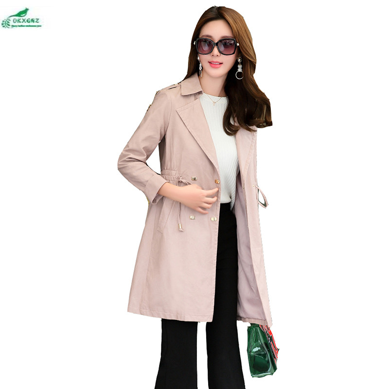 Winter casual PU   leather   windbreaker female mid-length Korean high-end new spring women autumn fashion body coat OKXGNZ AF05