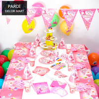 Birthday princess set girl birthday party decoration birth party supplies 1set/lot
