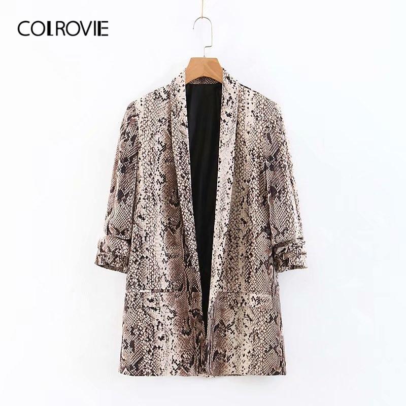 COLROVIE Shawl Collar Snake Skin Print Double Pocket Women Blazer 2019 Spring Long Sleeve Office Ladies Casual Suit Outwear Coat
