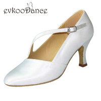 White Black Khaki Tan Dark Tan Zapatos De Baile Heel Height 7cm Size US 4 12 Woman Ballroom Dance Shoes Close Toes NB012