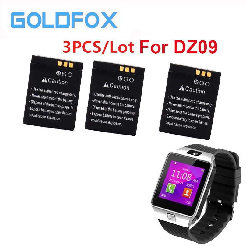 GOLDFOX 3Pcs/Lot 380mAh Rechargeable Polymer Li-ion Battery For DZ09 smart watch battery Support Dropshipping Wholesale цена 2017