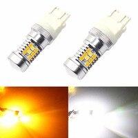 3157 Standard SRCK CK Prise 4157NA Double Couleur Blanc Ambre LED Switchback Extrêmement Super Lumineux Haute Puissance PX 28-SMD LED ampoules