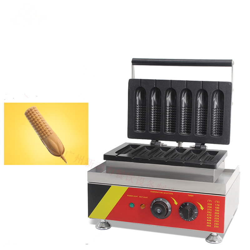110V 220V 6pcs Non-stick Electric Corn Shape Waffle Maker Commercial French Hot Dog Waffle Baker Iron Machine EU/AU/UK/US commercial smooth milk hot dog stick waffle baker maker machine for hot dog