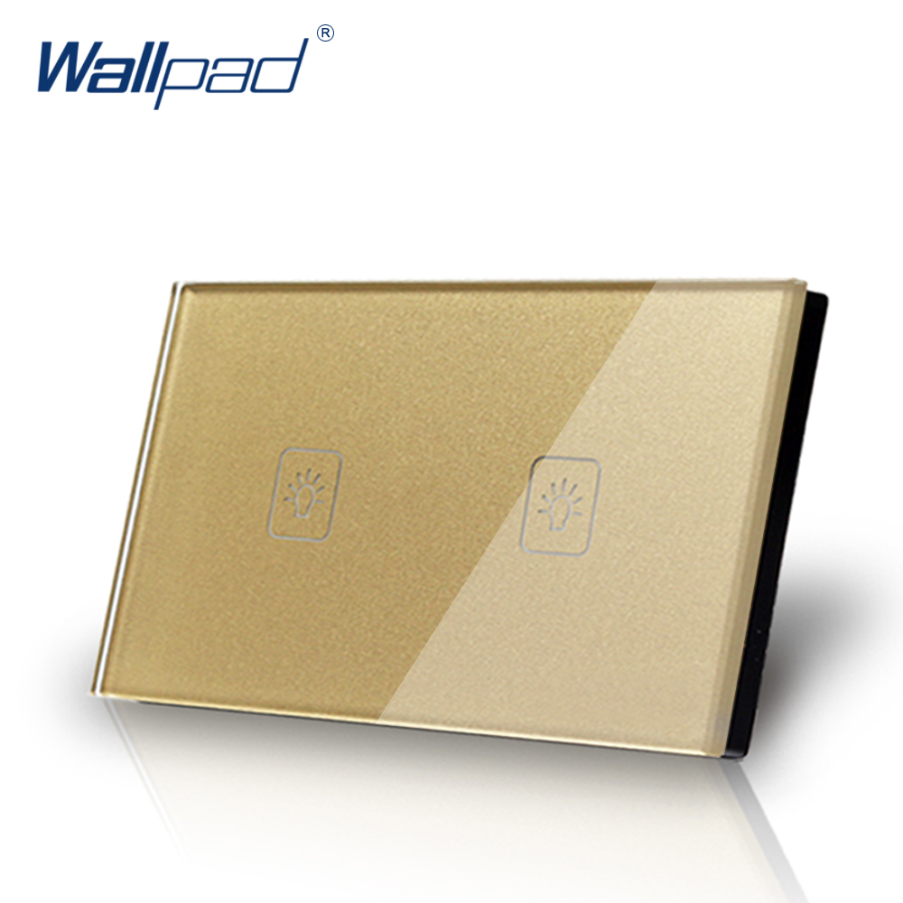 2 gang Touch switch 1 way US/AU standard Wallpad  Touch Screen Light Switch Gold Crystal Glass Panel Free Shipping 3 gang 1 way 118 72mm wallpad white glass touch wall switch panel led 110v 250v au us switching power supply free shipping