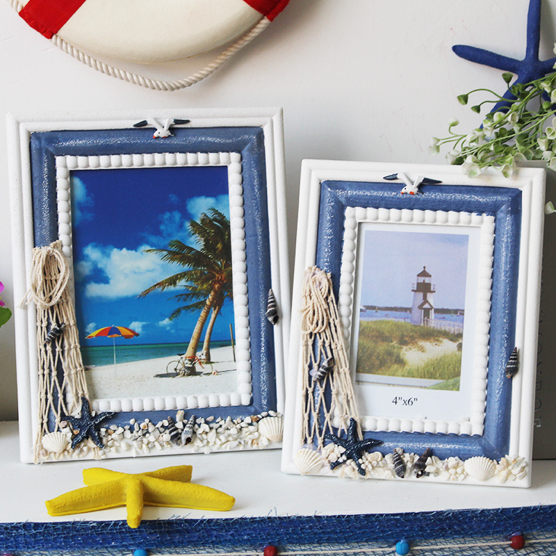 Hot Selling Newest Retro 6 Inch 7 Inch Mediterranean Style Photo Frame Ornaments Home Accessories Marine Series Home Decor