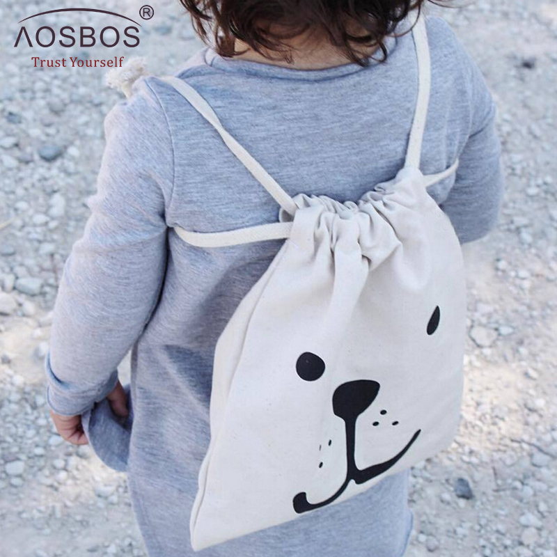 Aosbos Children's Canvas Drawstring Bags Children Cartoon Storage-bag Casual Travel Storage String Package Mini Backpack Kids