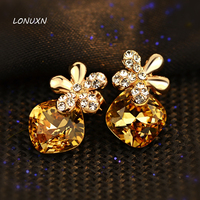 18*11mm gold Austria yellow Crystal Shiny cute Five leaves flowers stud earrings Women jewelry High quality girls lovers gift