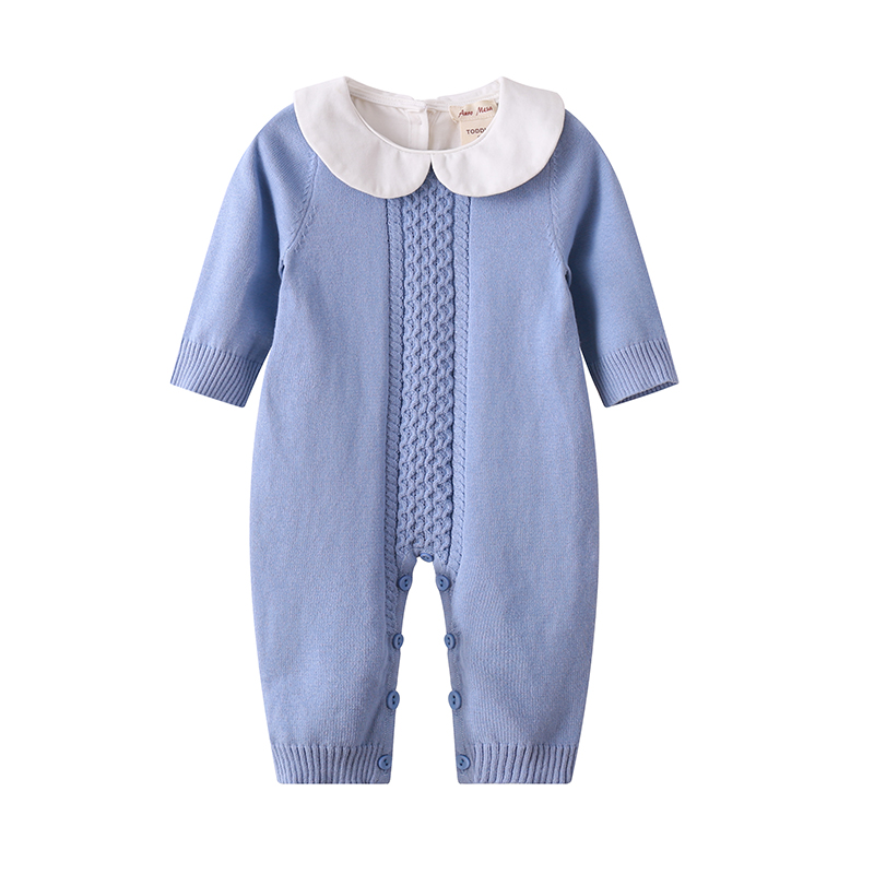 Auro Mesa Newborn Baby Knitted Jumper bebe clothing Autumn Winter Jumpsuit 2018 baby onesie Baby Knit Romper auro mesa blue baby knitting romper 100