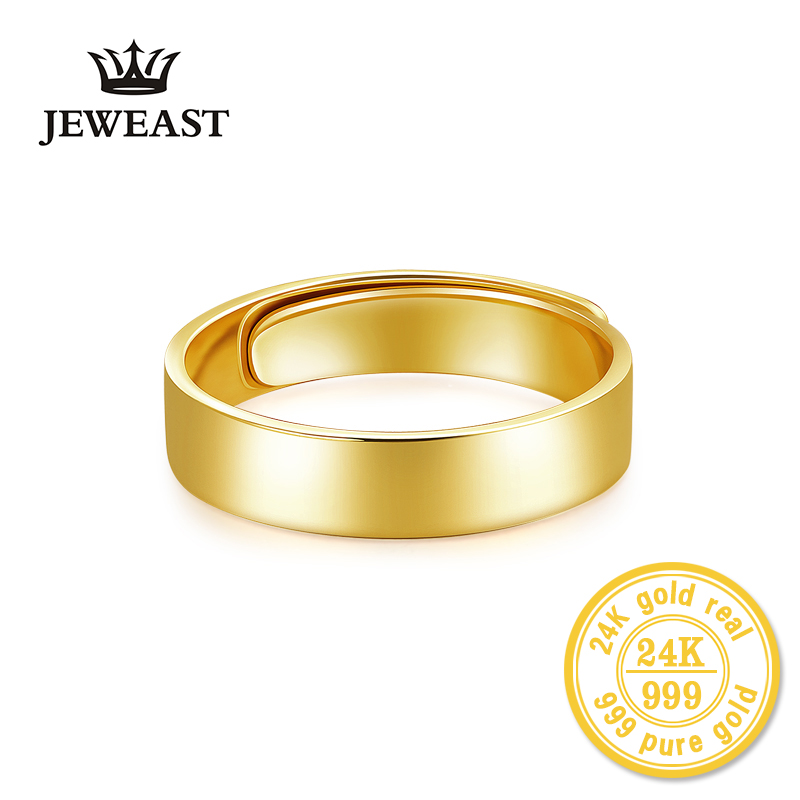 HMSS 24k Gold Rings Light Board Couple Lover men women gift self Real Solid Pure AU999 2019 New Hot Sale Trendy Fine Jewelry