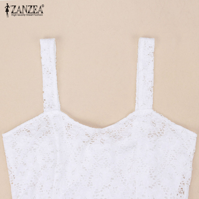 db7e0b8995435 Zaznea Sexy Low-Cut Crop Top Vest Lace Floral Tunic Sleeveless Tank Top  Plus Size Casual Camis Cropped Tops