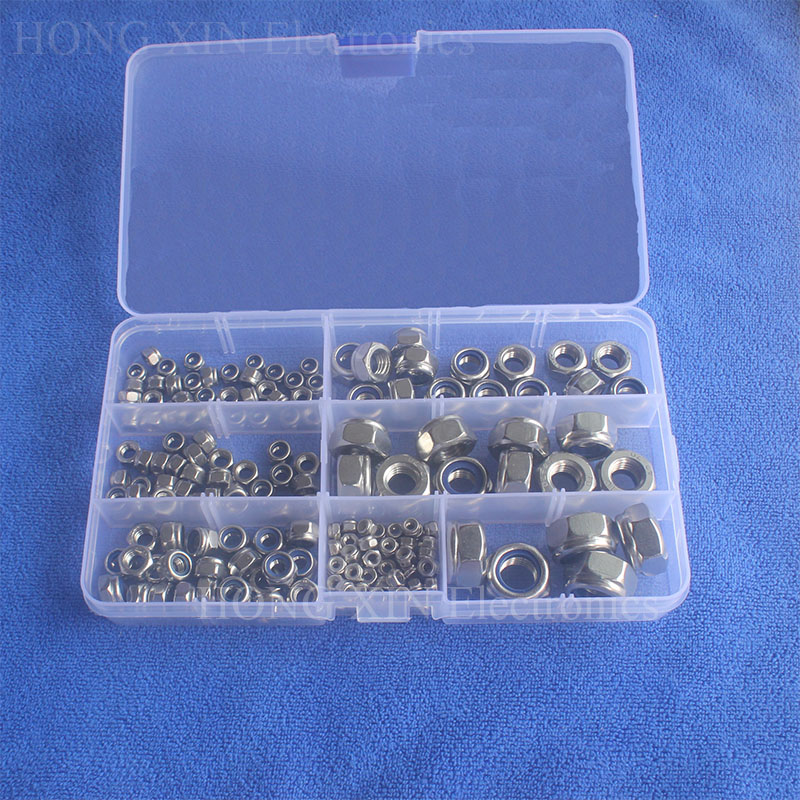 165pcs M3 M4 M5 M6 M8 M10 M12 Stainless Steel Nylon Lock Nut Metric Assortment Kit Screw Lock Hex Nut Insert Locking Nuts 4pcs set hand tap hex shank hss screw spiral point thread metric plug drill bits m3 m4 m5 m6 hand tools
