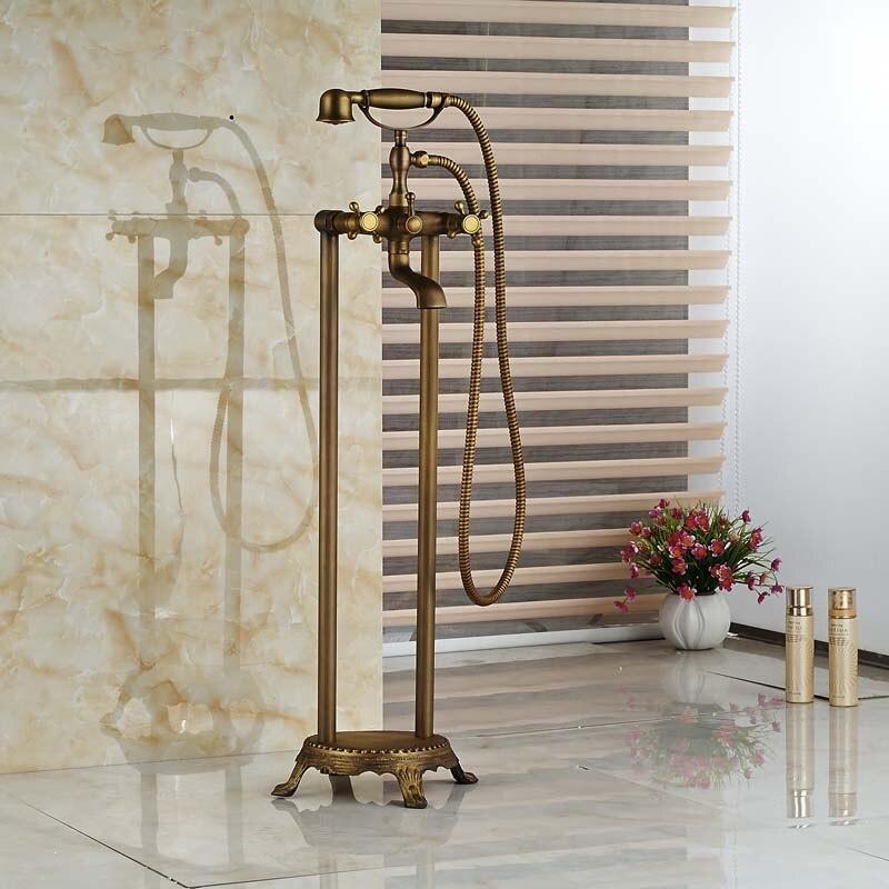 Brass Antique Dual Cross Handles Tub Filler Free Standing Floor Mount Bathroom Bathtub Faucet with Handshower antique brass swivel spout dual cross handles kitchen