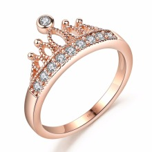 DROLE Rose Gold Color Crown Crystal Engagement Cute Wedding Bands Zircon Promise Rings for Women Fashion Jewelry Silber