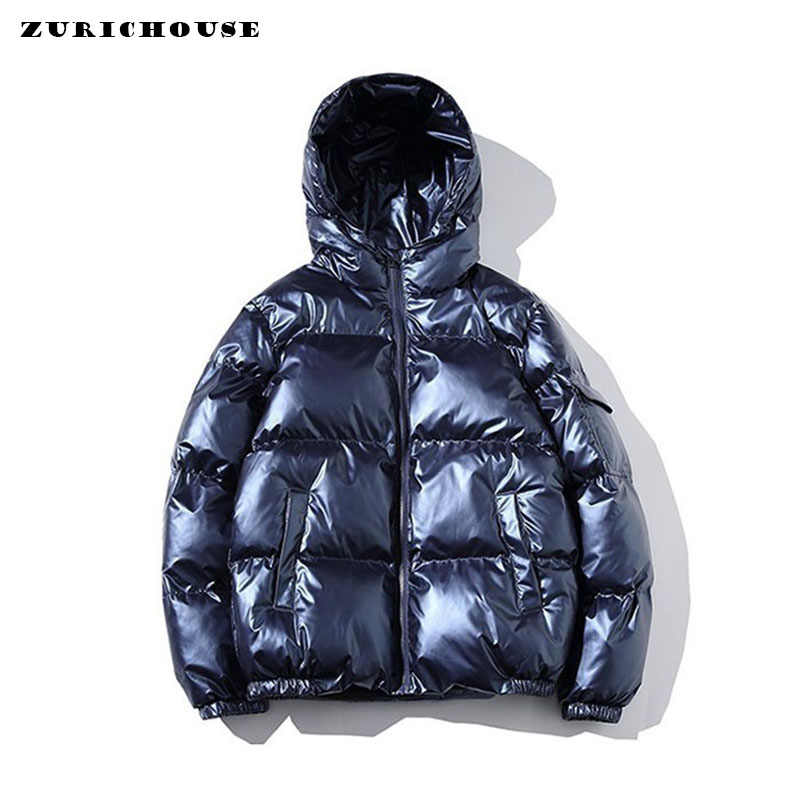 ZURICHOUSE 2020 Women's Down Jacket Winter Glossy Silver/Black/Gold/Blue Plus Size Hooded Parka Outwear Down Padded Coats Female