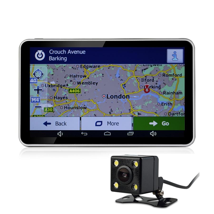 Udricare 7 inch GPS Android WiFi Bluetooth GPS Navigation DVR 16GB Quad-core Dual Lens Rear View Back Camera DVR Video Recorder