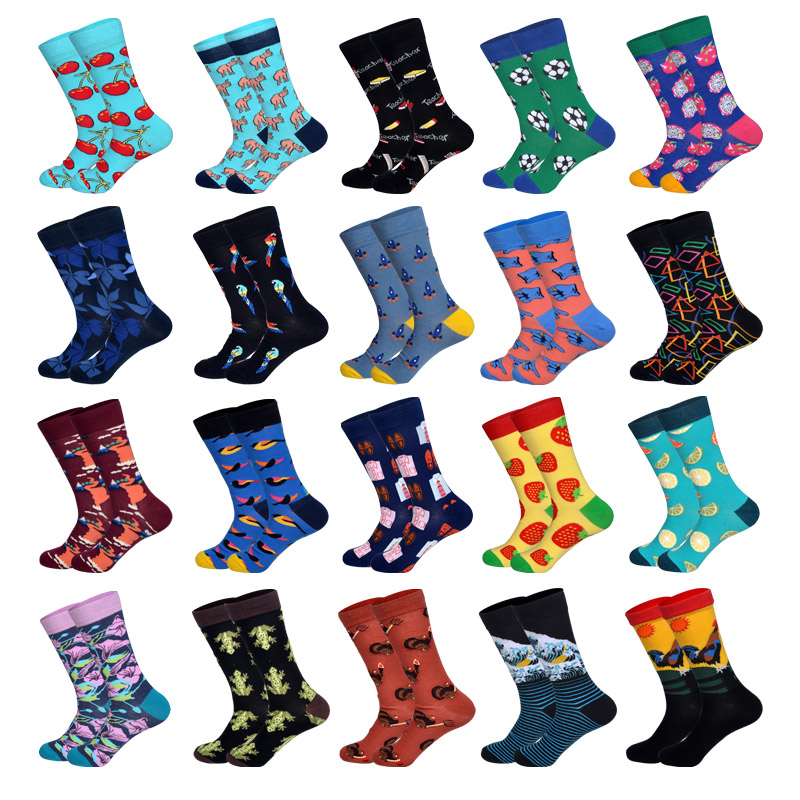 LIONZONE 2019 Newly Novelty Men Happy Socks Tie Football Parrot Rocket Finger Pattern Design Cotton Socks