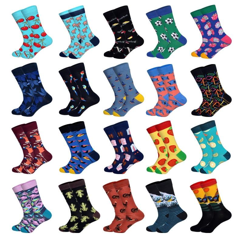 LIONZONE 2019 Newly Novelty Men Happy Socks Tie Football Parrot Rocket Finger Pattern Design Cotton Socks