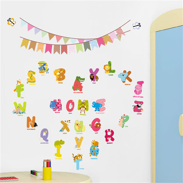 Animal Letters Wall Decals Cartoon Alphabet Removable Kids Room ABC Wall  Art Stickers For Kids Room Home Decor