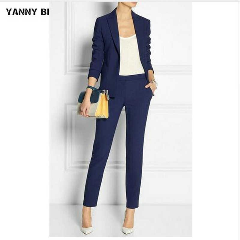 ネイビーブルースリムフィットレディースビジネススーツ女性オフィス制服エレガントなパンツスーツ女性ズボンスーツ 2 ピースセット