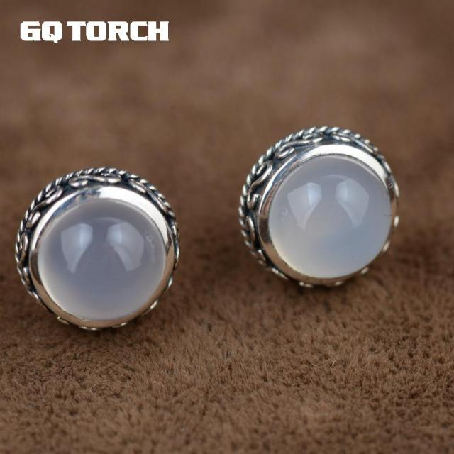 Gqtorch 925 Sterling Silve White Chalcedony Natural Stone Stud Earrings Gemstone Handmade Vintage Thai Silver Flower