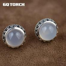 GQTORCH 925 Sterling Silve White Chalcedony Natural Stone Stud Earrings Gemstone Handmade Vintage Thai Silver Flower Carved