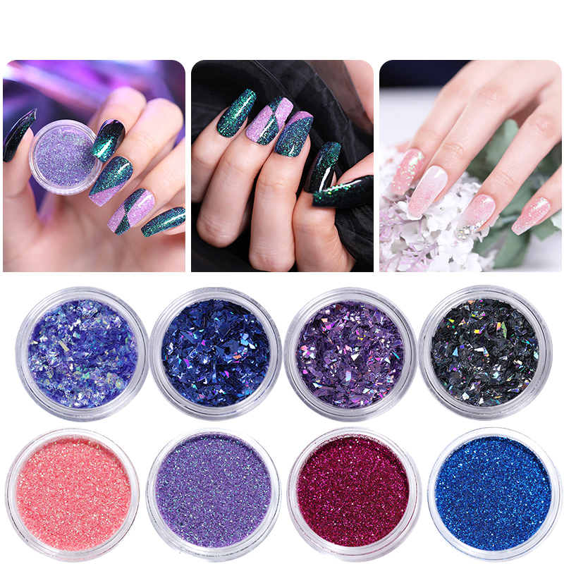 1g Bottle Nail Glitter Sequins Holographic Shining Irregular Flakes Gradient Nail Powder Colorful Nail Art Decoration in Rhinestones Decorations from Beauty Health