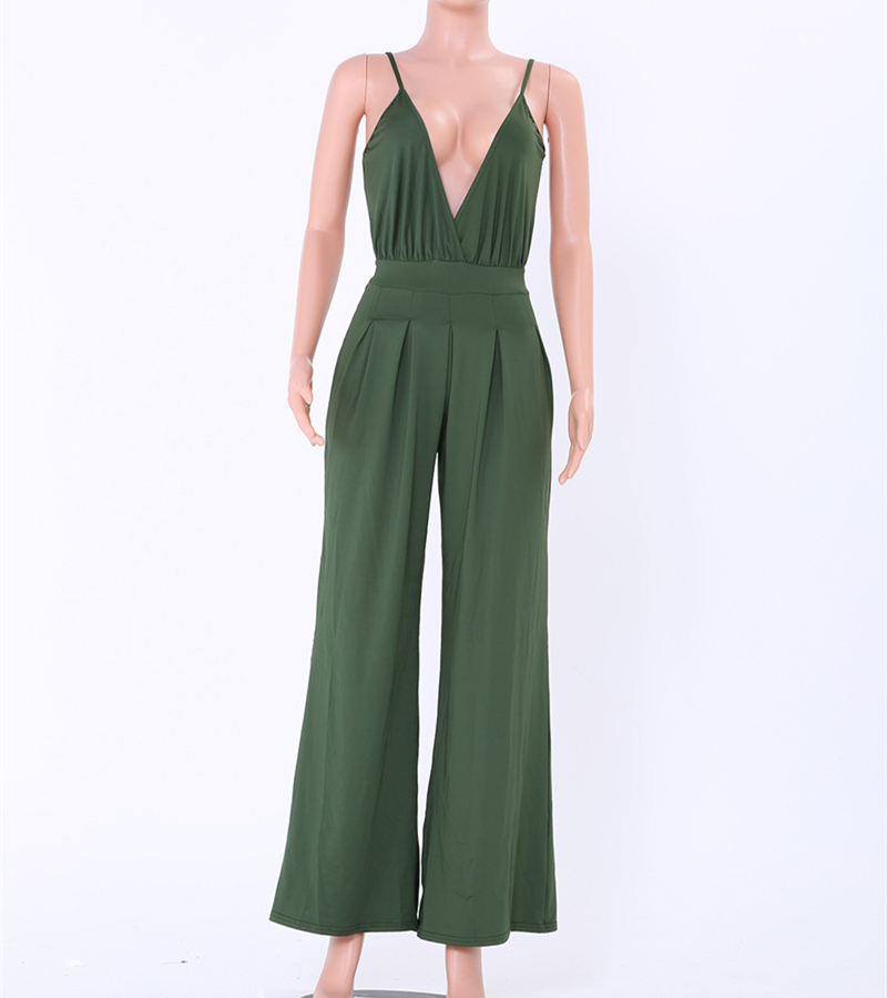 sexy deep v-neck off shoulder overalls rompers womens jumpsuit plus size summer 2018 one piece pants monos largos de mujer 2200 3