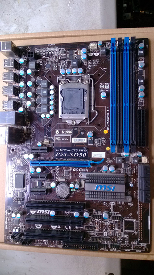 цены  Free shipping original motherboard for MSI P55-SD50 LGA 1156 DDR3 boards USB2.0 16GB P55 desktop motherboard