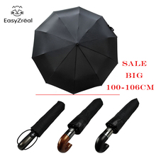 hot deal buy easyzreal leather curved handle men automatic business umbrella male windproof  big high quality umbrellas parasol rain paraguas