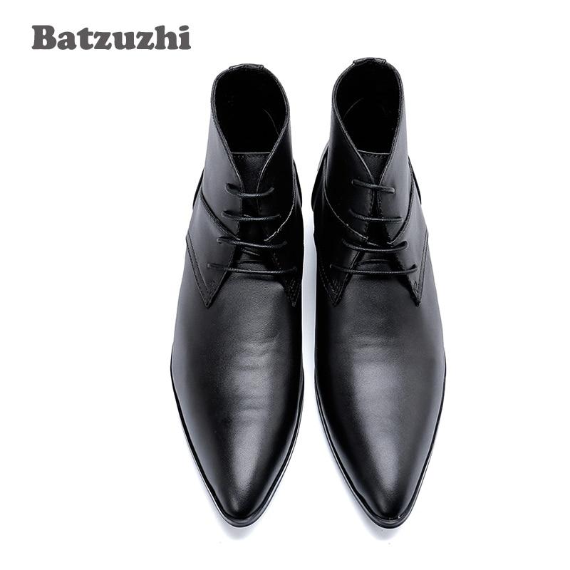 Tipo Japonês Boots Lace Toe Genuína De 46 Apontou up Hombre Senhores Preto Couro Formal Homens Batzuzhi Negócios Ankle Dos Botas FqB7n5Fd